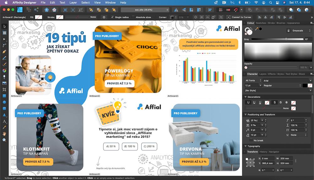 V Suzzie.cz využíváme nejčastěji pro tvorbu příspěvků na sociální sítě nástroj Affinity Designer, ale také nástroj Canva.