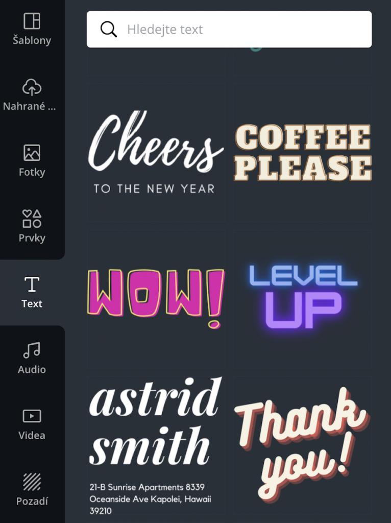K výběru jsou různě stylizované fonty